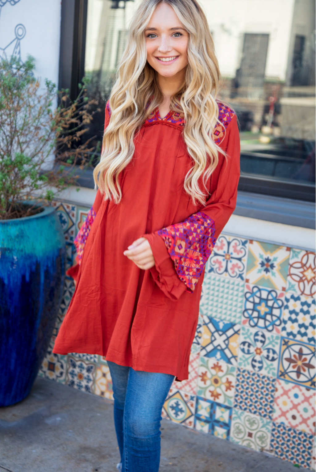 EMBROIDERED DOUBLE RUFFLE SLEEVE TUNIC DRESS