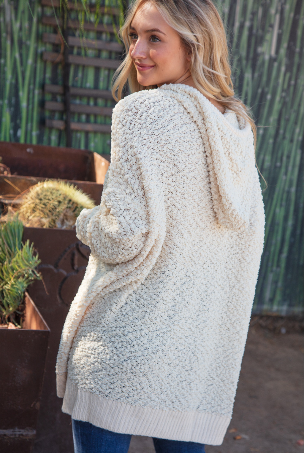 WOVEN BOUCLE KNIT PULLOVER HOODIE